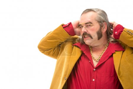 funny vintage 70s man with sideburn mustache and long hair portrait isolated on white
