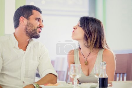 Young romantic couple  have fun at restaurant