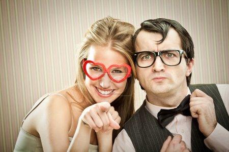 Nerd man boyfriend with his girlfriend love portrait