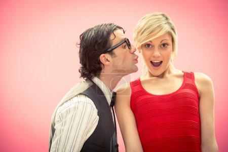 Nerd man boyfriend kiss his girlfriend love portrait for valentine day