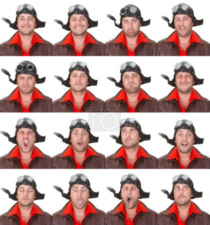 vintage aviator pilot adult caucasian man collection set of face expression like happy, sad, angry, surprise, yawn isolated on white