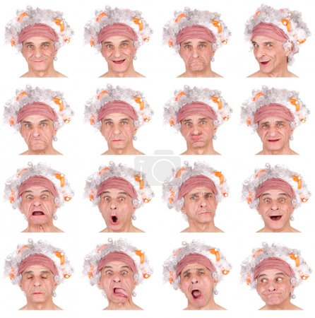 curly white hair senior caucasian woman collection set of face expression like happy, sad, angry, surprise, yawn isolated on white