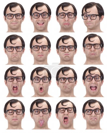 brunette glasses nerd adult caucasian man collection set of face expression like happy, sad, angry, surprise, yawn isolated on white