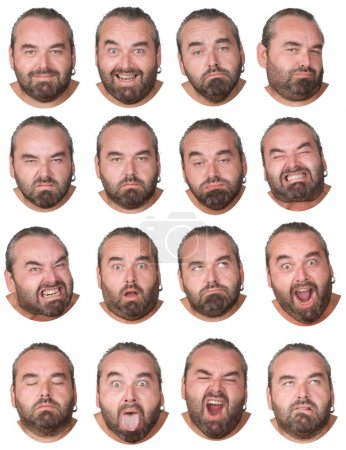 gray hair and beard fat caucasian man collection set of face expression like happy, sad, angry, surprise, yawn isolated on white
