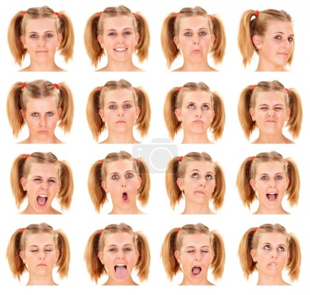blonde ponytail young caucasian woman collection set of face expression like happy, sad, angry, surprise, yawn isolated on white