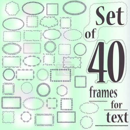 Set of 40 decorative frames for text with geometric and floral pattern on a blurred background
