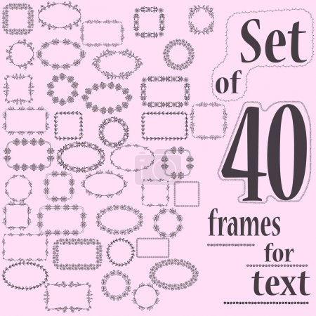 Set of 40 decorative frames for text with geometric and floral pattern