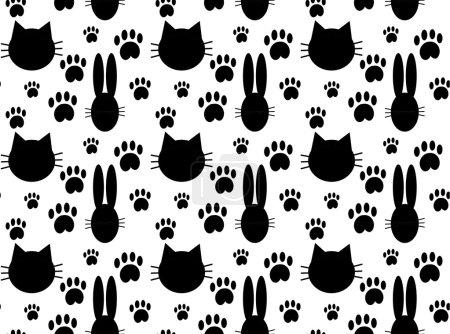 Illustration pour Modèle sans couture avec chat et lapin. Illustration vectorielle . - image libre de droit
