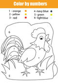 Coloring page with rooster Color by numbers