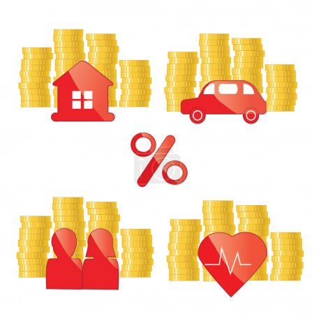 Red glance icons with golden coins. Investing, banking, financial credit, real estate concept illustration