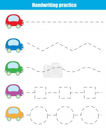 Illustration for Handwriting practice sheet. Educational children game. Writing training, transportation theme. Connect the dots, restore the dashed line, vector illustration, printable worksheet - Royalty Free Image