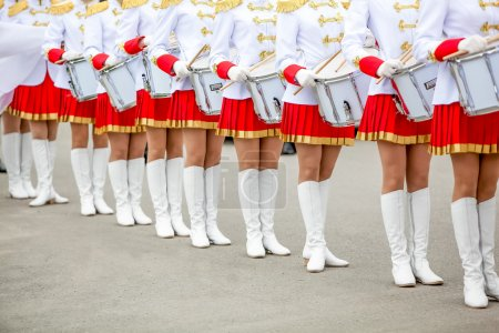 Photo for Street drummers orchestra before procession - girls dancers - Royalty Free Image