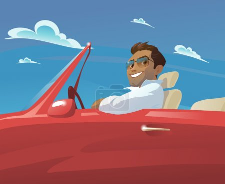 Illustration for Young man goes to a beautiful red car on a background of blue sky with clouds. - Royalty Free Image
