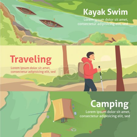 Colourful camping vector flat banner set for your business, web sites etc. Best trips and camping, kayaking. Composition banner isolated vector illustration.