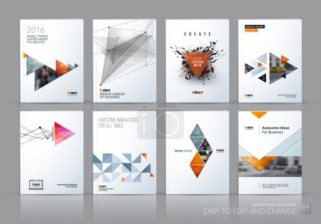 Illustration for Brochure template layout, cover design annual report, magazine, flyer in A4 with grey yellow polygonal triangles, 3d mesh polygons, rounds, lines, explosion for business and sale shopping. Vector set. - Royalty Free Image