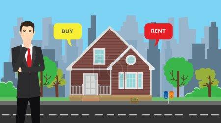 Illustration pour Un homme d'affaires choisir entre acheter ou louer pour acheter sa maison illustration graphique vectorielle - image libre de droit