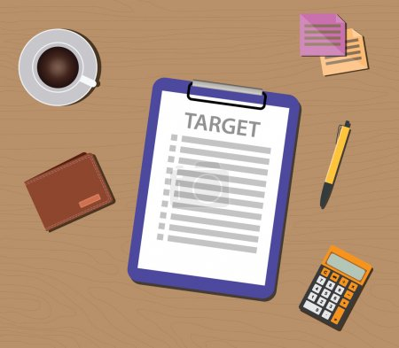 target list illustration with check and clipboard document