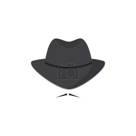 An unidentified man in a hat with a mustache. Mafioso. Secret Agent icon.