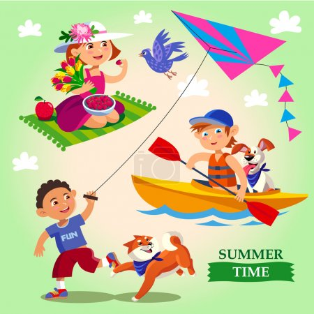 Spring and summer child's outdoor activities.