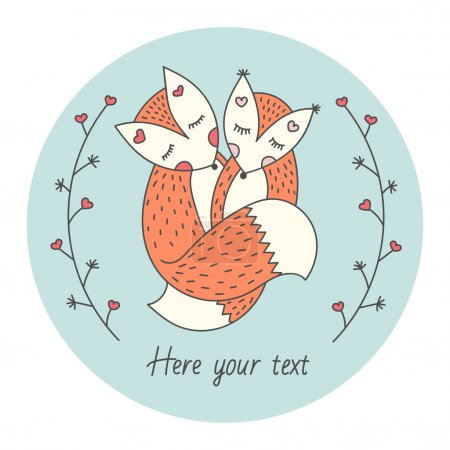 Cute card with Two foxes. Love between animals. Abstract branches on each side. Vector