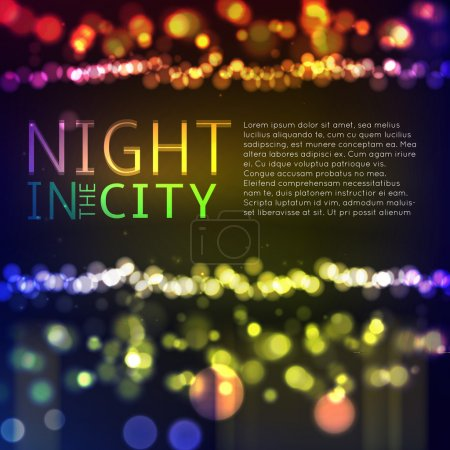 Illustration for Colorful Abstract city template background with bokeh lights. Vector illustration - Royalty Free Image