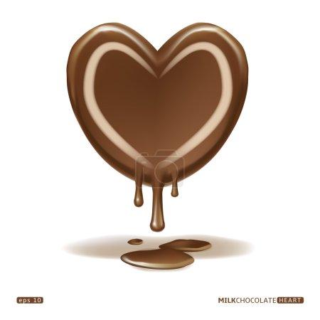 Melting milk chocolate heart