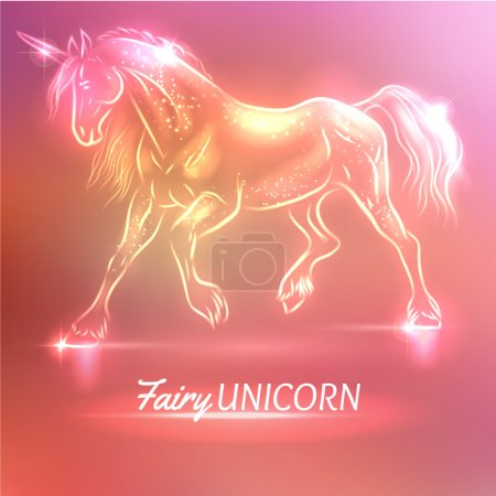 Illustration for Fairy unicorn with sparkles, colorful vector illustration - Royalty Free Image