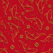 Chinese vector seamless pattern with ornamental fish Golden fish contours with shadow on a red background