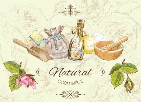 Illustration for Vector natural banner with wild flowers and herbs. Background design for cosmetics, store, beauty salon, natural and organic products. Can be used as logo design - Royalty Free Image