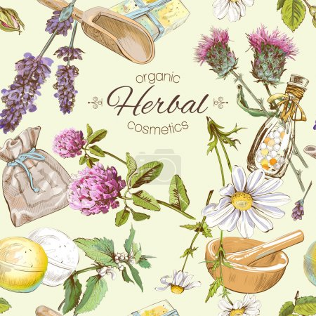 Illustration for Vector seamless pattern with wild flowers and herbs. Background design for cosmetics, store, beauty salon, natural and organic products. Can be used as texture ,wrapping paper and fabric print - Royalty Free Image