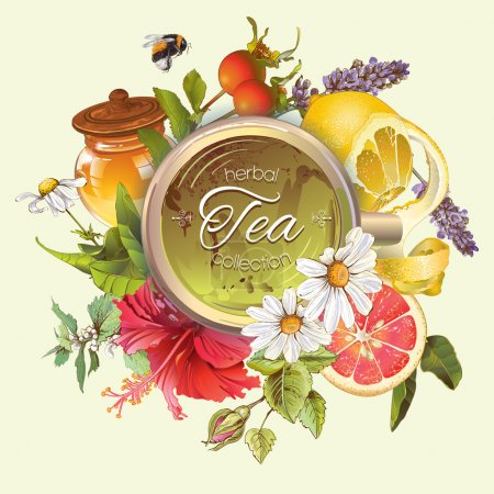 Illustration for Vector vintage herbal banner with honey, hibiscus,lemon and rose hip.Design for tea, juice, natural cosmetics, baking,candy and sweets,grocery,health care products. With place for text. - Royalty Free Image