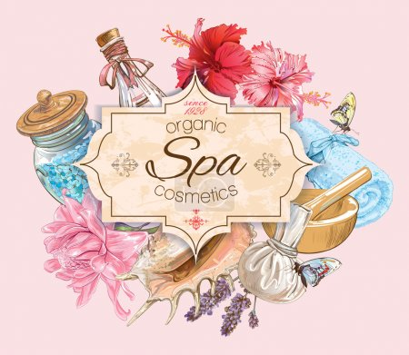 Illustration for Spa treatment banner with lotus,shells and hibiscus flowers. Design for cosmetics, store,spa and beauty salon, organic health care products. Can be used as logo design. Vector illustration. - Royalty Free Image