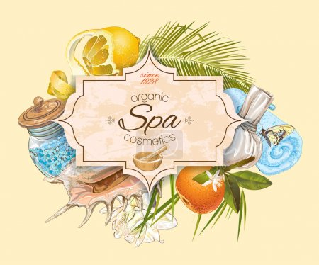 Illustration for Spa treatment banner with lotus,palm leaf and citrus fruits. Design for cosmetics, store,spa and beauty salon, organic health care products. Can be used as logo design. Vector illustration. - Royalty Free Image