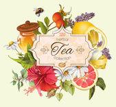 Vector vintage herbal tea banner
