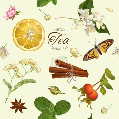 Illustration for Vector herbal tea seamless pattern with linden,jasmine flowers,and cinnamon. Design for tea, natural cosmetics, baking,candy and sweets,grocery,health care products. Best for textile, wrapping paper. - Royalty Free Image