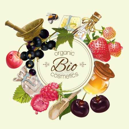 Illustration for Vector vintage fruit and berry round cosmetic banner with honey and mortar .Design for herbal and fruit tea, natural cosmetics, candy, grocery and health care products. Can be used as logo design - Royalty Free Image