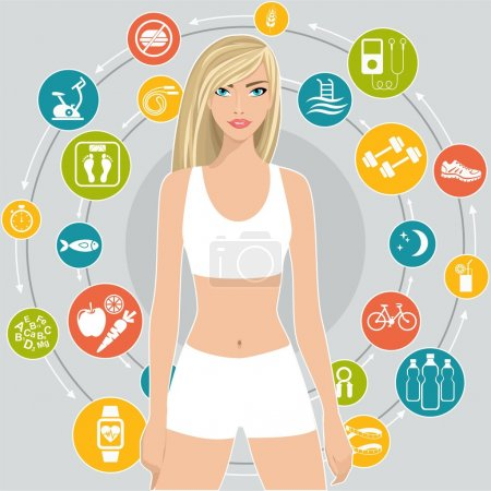 Flat vector illustration Sport and diet, a set of icons with tips for weight loss
