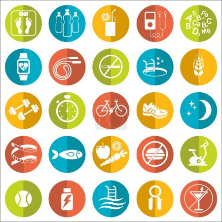 Set of flat vector icons with tips for losing weight. Sport, diet and healthy lifestyle