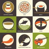 Japanese food sushi collection Set of colorful flat icons Vector illustration
