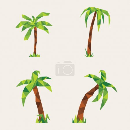 Four lowpoly palm trees. Illustration for design on yellow background
