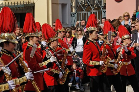 Procession of musicians at Easter