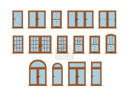 Illustration for 50 Vector Windows Set. Big Interior Windows Design Collection - Royalty Free Image