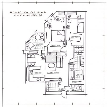 Illustration for Architectural Hand Drawn Floor Plan.Two Bedrooms Apartment - Royalty Free Image