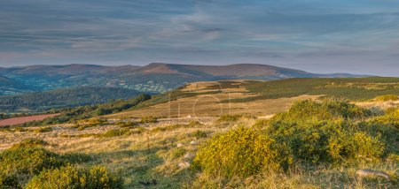 Panorama of black mountains view from Llangynidr