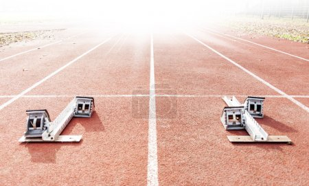 Photo for Starting blocks on running tracks - Royalty Free Image
