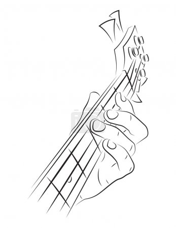 Playing bass line art illustration. Left hand fing...