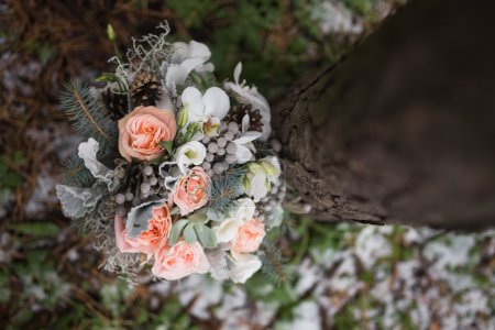 Beautiful bridal bouquet in forest