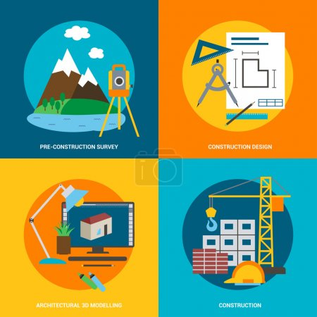 Conceptual icon set for construction in flat style. Vector illustration