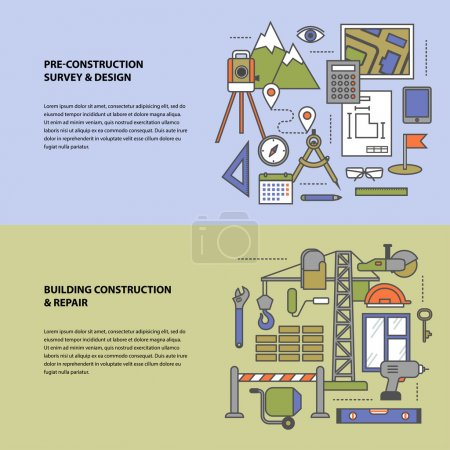 Illustration for Conceptual banners from a set of steps icons, objects and tools with contours in soft colors. Preparation, construction and repair. Modern flat concept icon character set for booklets, brochures, sites - Royalty Free Image
