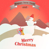 Christmas gifts on the background of a winter landscape,